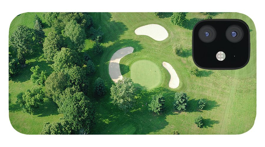 Sand Trap iPhone 12 Case featuring the photograph Golf Course Close Up From The Air by Groveb