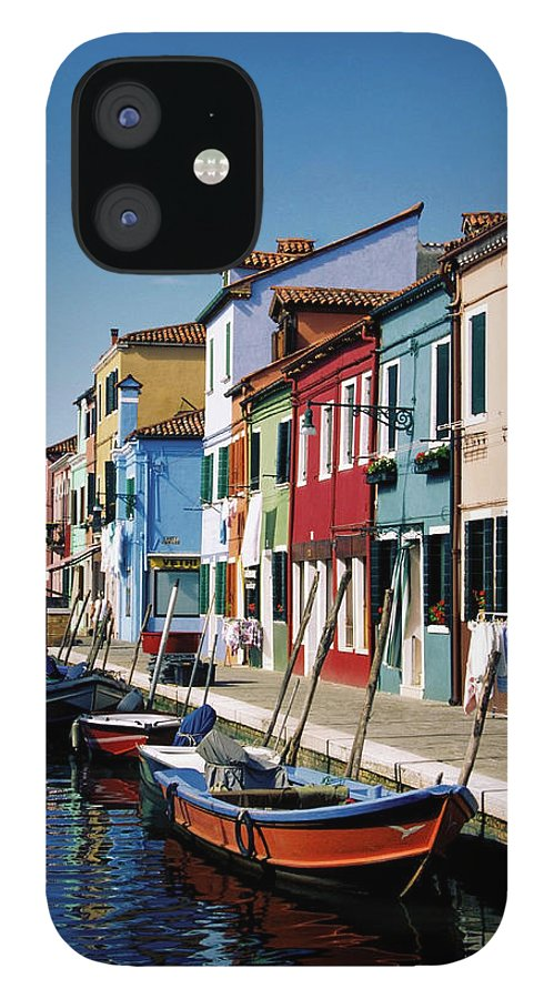 Row House IPhone 12 Case featuring the photograph Gondolas In A Canal, Burano, Venice by Medioimages/photodisc