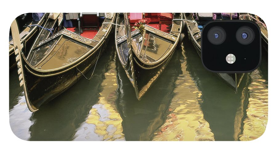 Five Objects IPhone 12 Case featuring the photograph Gondolas, Venice, Veneto, Italy, Europe by Sergio Pitamitz / Robertharding