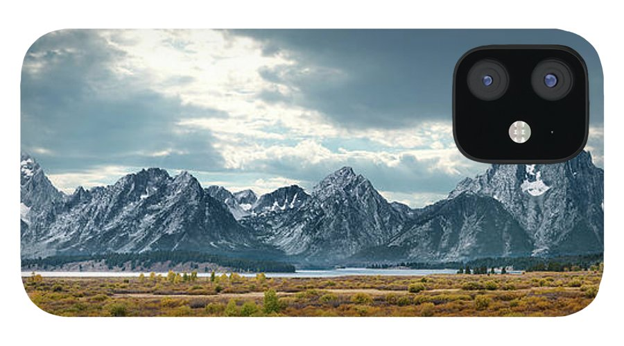 Scenics IPhone 12 Case featuring the photograph Grand Tetons In Dramatic Light by Ed Freeman