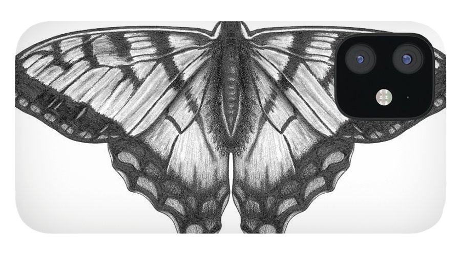 Art IPhone 12 Case featuring the digital art Graphite Illustration Of A Beautiful by Ranplett