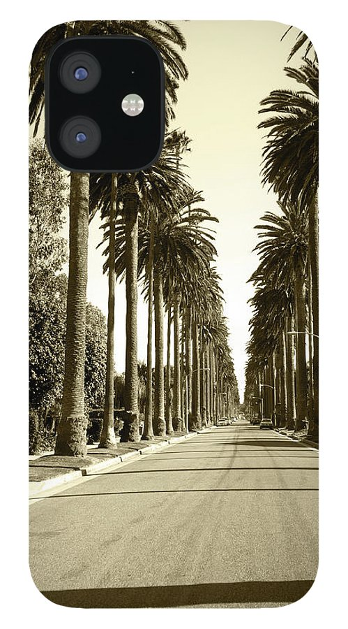 1950-1959 IPhone 12 Case featuring the photograph Grayscale Image Of Beverly Hills by Marcomarchi