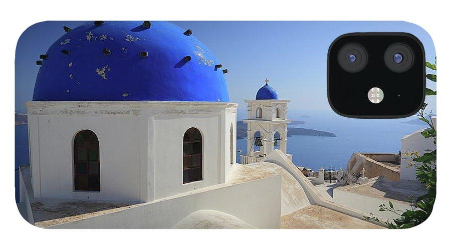 Greek Culture IPhone 12 Case featuring the photograph Greek Church In Santorini by Iñigo Escalante