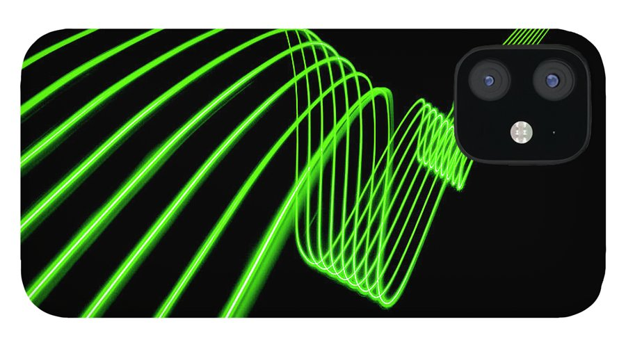 Laser IPhone 12 Case featuring the photograph Green Abstract Coloured Lights Trails by John Rensten