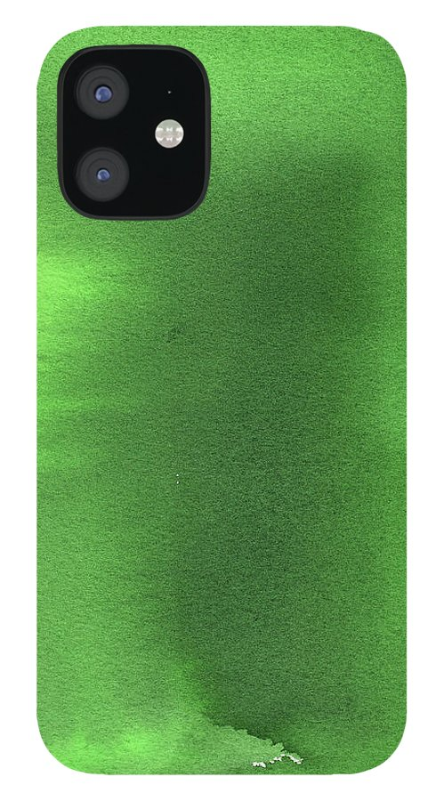 Watercolor Painting iPhone 12 Case featuring the digital art Green Background Watercolor Painting by Taice