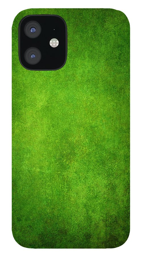 Stained iPhone 12 Case featuring the photograph Green Grunge Background by Mammuth