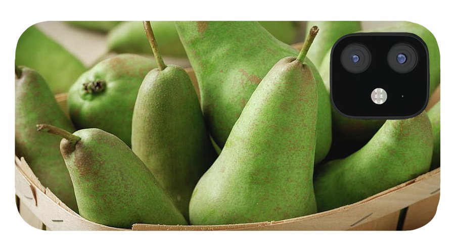 Fruit Carton IPhone 12 Case featuring the photograph Green Pears In Punnet And Wooden Table by Chris Ted