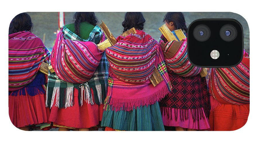 People IPhone 12 Case featuring the photograph Group Of Peruvian Woman In Colorful by Linka A Odom