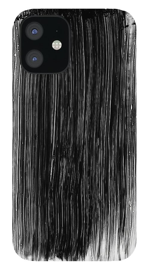 Art IPhone 12 Case featuring the photograph Grunge Black Paint Brush Stroke by 77studio