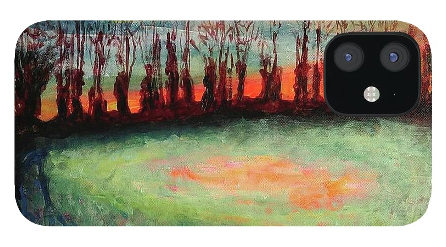 Trees iPhone 12 Case featuring the painting Guardians by Caroline Cunningham