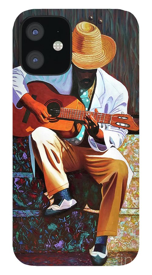 Cuban IPhone 12 Case featuring the painting Guitar player #3 by Jose Manuel Abraham