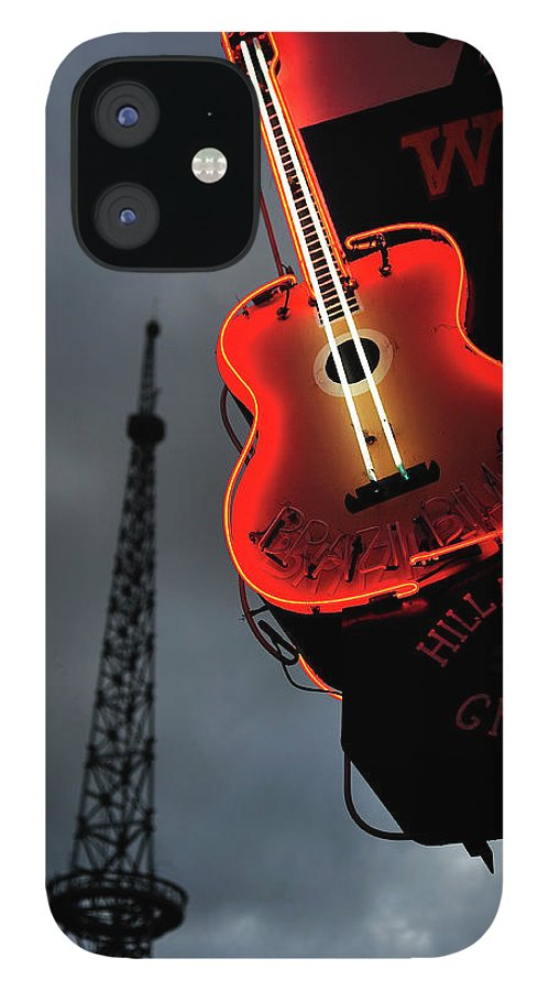 Outdoors IPhone 12 Case featuring the photograph Guitar With Nashville by James Atkinson Photography