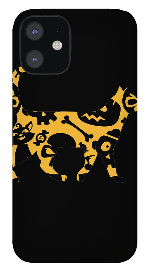 Cat IPhone 12 Case featuring the digital art Halloween Cat by Kaylin Watchorn