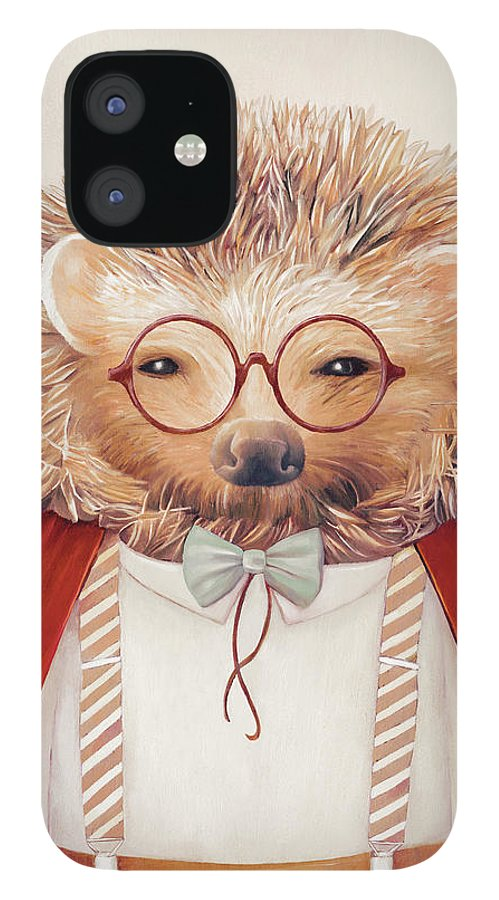 Hedgehog IPhone 12 Case featuring the painting Harry Hedgehog by Animal Crew