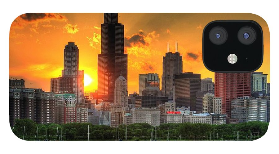 Tranquility IPhone 12 Case featuring the photograph Hdr Chicago Skyline Sunset by Jeffrey Barry