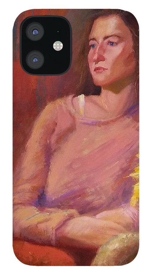 Woman IPhone 12 Case featuring the painting He Never Apologized by Irena Jablonski