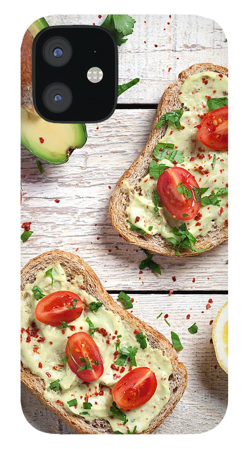 Breakfast IPhone 12 Case featuring the photograph Healthy Whole Grain Bread With Avocado by Barcin