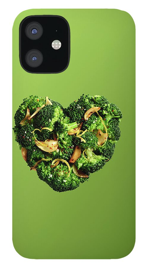 Broccoli IPhone 12 Case featuring the photograph Heart Shaped Broccoli On Green by Maren Caruso