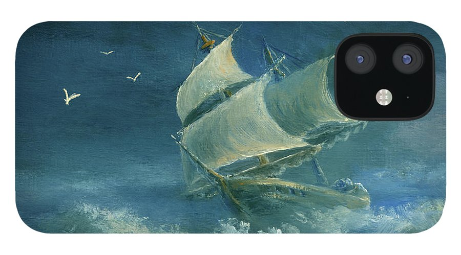 Image IPhone 12 Case featuring the digital art Heavy Gale by Pobytov