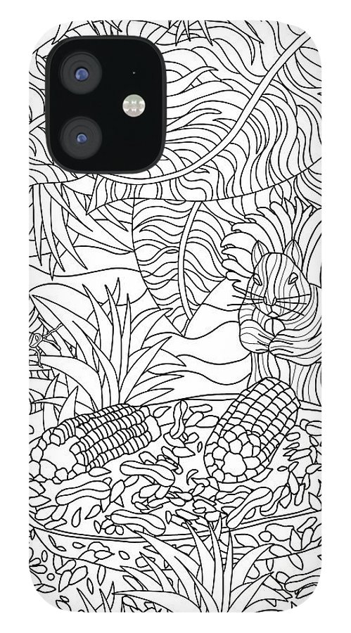 Coloring Books IPhone 12 Case featuring the drawing Hidden Images Book A - 41 by Kathy G. Ahrens