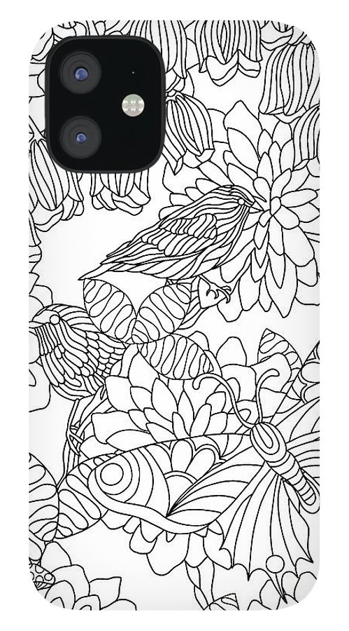 Coloring Books IPhone 12 Case featuring the drawing Hidden Images Book A - 42 by Kathy G. Ahrens