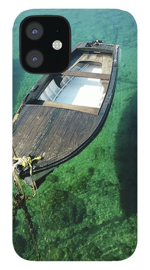 Tranquility IPhone 12 Case featuring the photograph High Angle View Of Boat Moored On Sea by Iva Saric / Eyeem