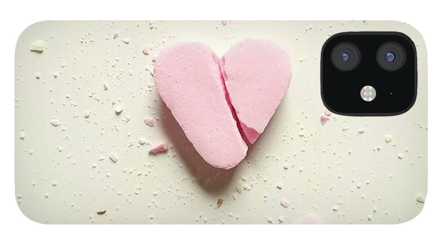Unhealthy Eating IPhone 12 Case featuring the photograph High Angle View Of Broken Heart Shape by Wulf Voss / Eyeem