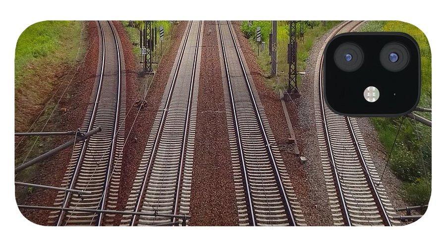 Tranquility IPhone 12 Case featuring the photograph High Angle View Of Empty Railroad Tracks by Thomas Albrecht / Eyeem