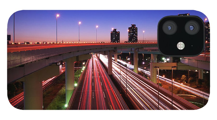 Two Lane Highway IPhone 12 Case featuring the photograph Highway At Night by Takuya Igarashi
