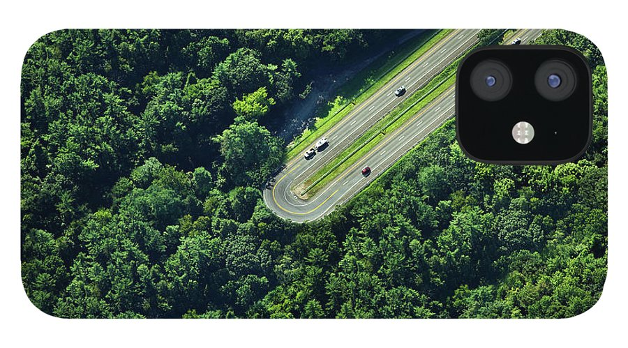 The End IPhone 12 Case featuring the photograph Highway U-turn In Forest by Thomas Jackson