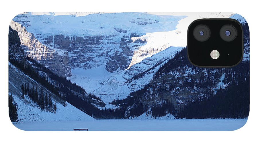 Scenics IPhone 12 Case featuring the photograph Hockey Net On Frozen Lake by Ascent/pks Media Inc.