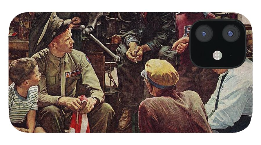 Flags IPhone 12 Case featuring the drawing Homecoming Marine by Norman Rockwell