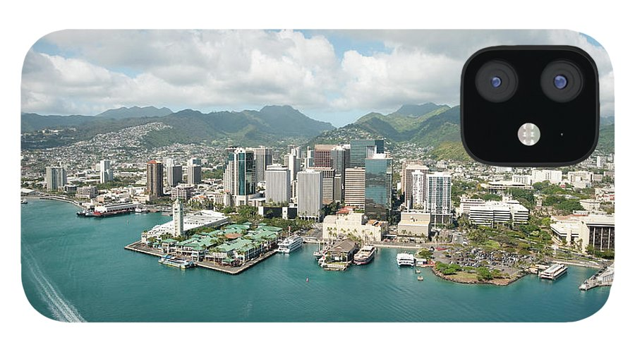 Honolulu IPhone 12 Case featuring the photograph Honolulu Skyline Shot From A Helicopter by 400tmax