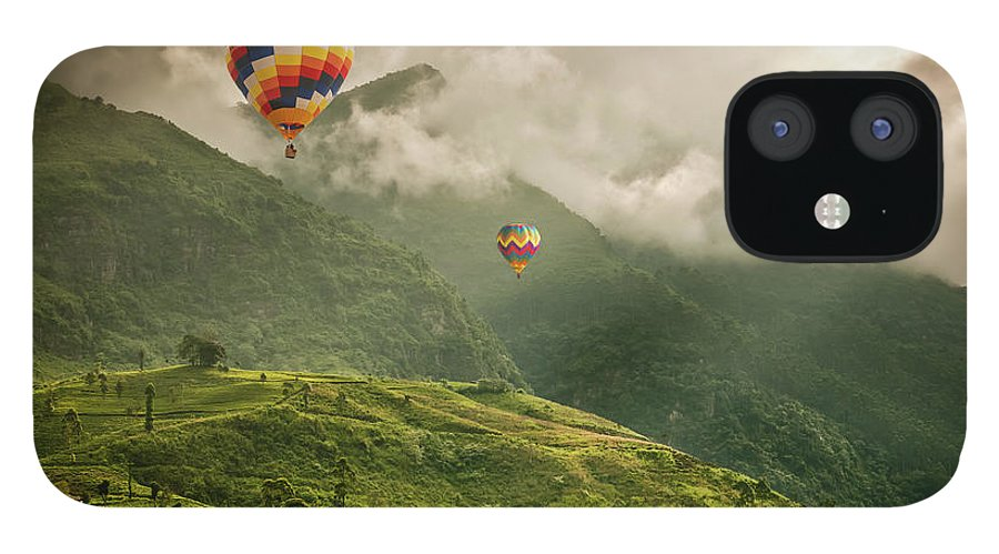 Tranquility IPhone 12 Case featuring the photograph Hot Air Balloons Over Tea Plantations by Nicolo Sertorio