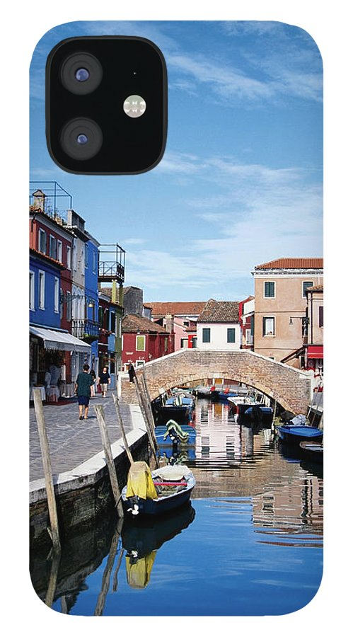 Row House IPhone 12 Case featuring the photograph Houses Along A Canal, Burano, Venice by Medioimages/photodisc