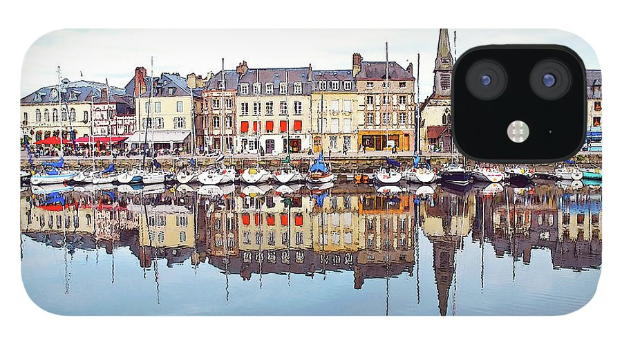 Tranquility IPhone 12 Case featuring the photograph Houses Reflection In River, Honfleur by Ana Souza