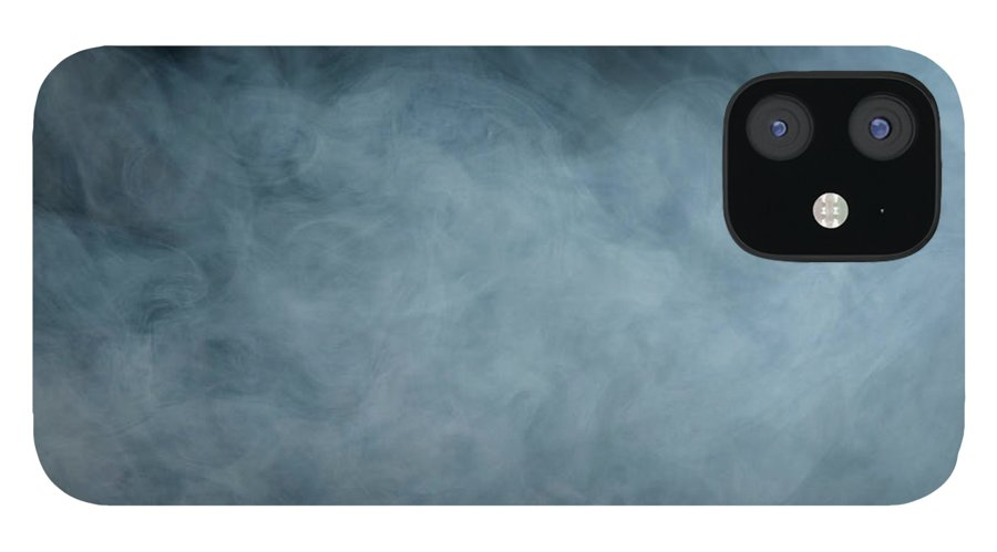 Air Pollution IPhone 12 Case featuring the photograph Huge White Cloud Of Smoke In A Dark Room by Lastsax