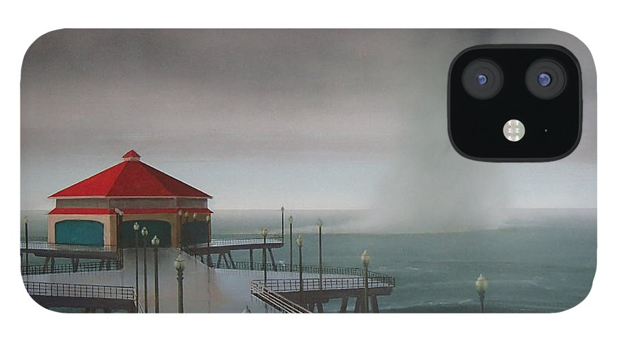 Huntington Beach IPhone 12 Case featuring the painting Huntington Beach Pier waterspout by Philip Fleischer