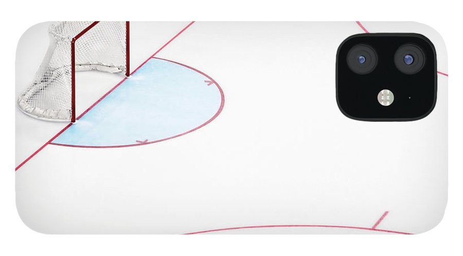 Sport IPhone 12 Case featuring the photograph Ice Hockey Goal Net And Empty Rink by David Madison