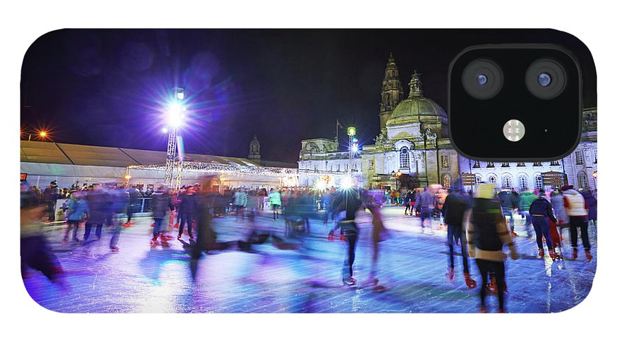 People IPhone 12 Case featuring the photograph Ice Rink With Cardiff City Hall by Allan Baxter