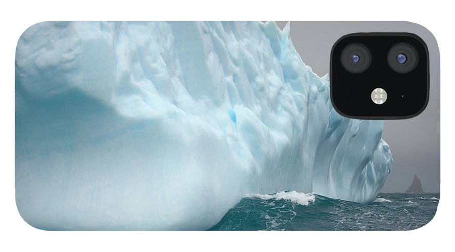 Scenics IPhone 12 Case featuring the photograph Iceberg And Sea Waves, South Georgia by Eastcott Momatiuk