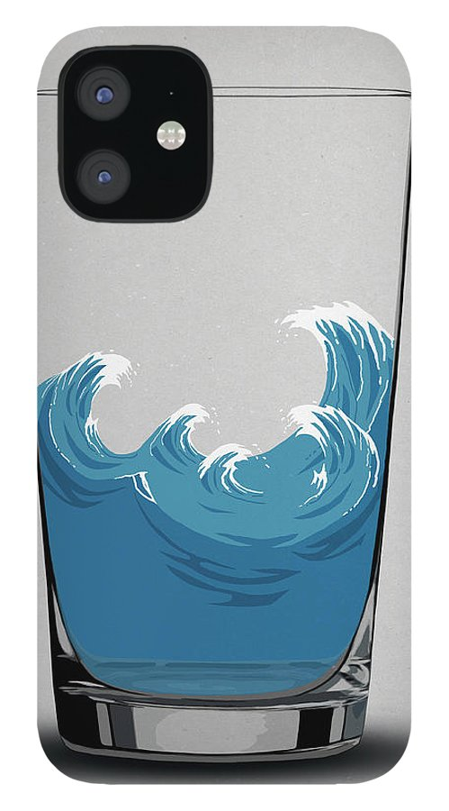 Concepts & Topics IPhone 12 Case featuring the digital art Illustration Of Choppy Waves In A Water by Malte Mueller