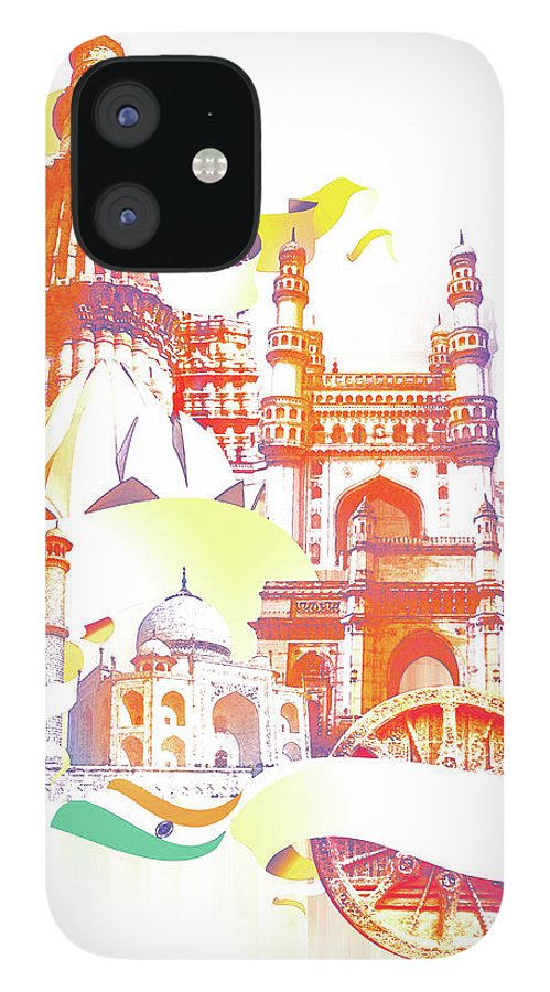Architectural Feature IPhone 12 Case featuring the digital art Indian Monuments Collage by Anand Purohit