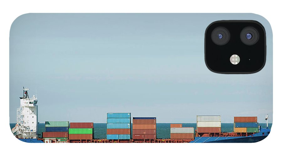 Freight Transportation IPhone 12 Case featuring the photograph Industrial Barge Carrying Containers by Mischa Keijser
