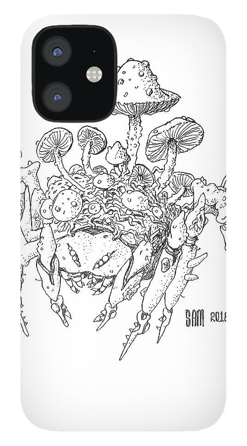 Spider IPhone 12 Case featuring the drawing Infested Spider by Sami Matilainen