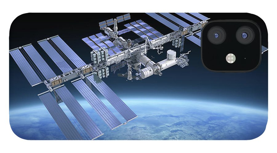 Solar Power Station IPhone 12 Case featuring the photograph International Space Station Iss by Scibak