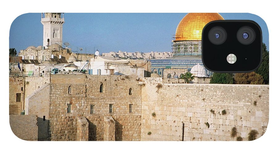 Dome Of The Rock IPhone 12 Case featuring the photograph Israel, Jerusalem, Western Wall And The by Medioimages/photodisc