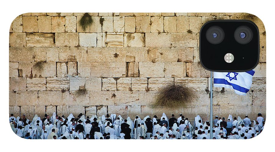 Crowd IPhone 12 Case featuring the photograph Israeli Flag Flies At The Western Wall by Gary S Chapman