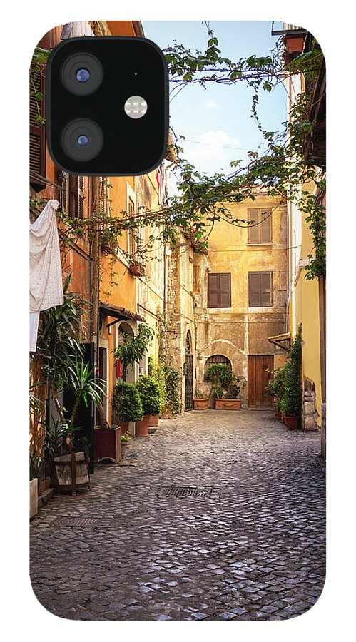 Roman IPhone 12 Case featuring the photograph Italian Old Town Trastevere In Rome by Spooh