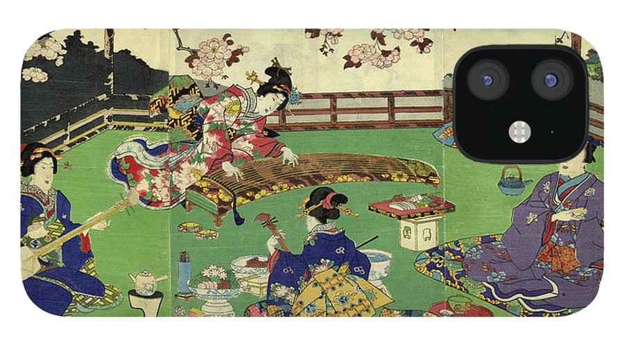 Plum IPhone 12 Case featuring the digital art Japanese Triptych Woodblock Cherry by Bernardallum
